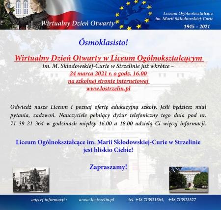WIRTUALNY  DZIEŃ   OTWARTY  w Liceum 24  marca 2021 roku o godzinie 16:00 ,